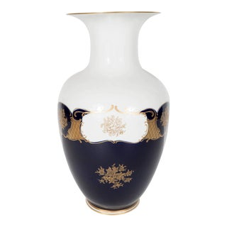 Neoclassical Revival Porcelain Vase in White and Cobalt Blue with Gold Overlay For Sale