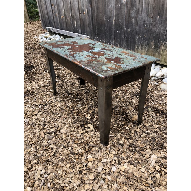 Industrial Distressed Wood Table With Metal Legs For Sale - Image 13 of 13