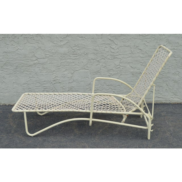 Vintage Brown Jordan Tamiami Vinyl Lace Patio Chaise Lounge For Sale In Philadelphia - Image 6 of 13