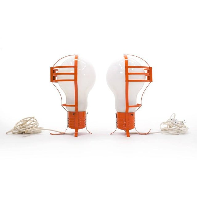 Pair of Oversized Pop Art Mod Light Bulb Table or Hanging Lamps, Orange Frames For Sale - Image 4 of 9