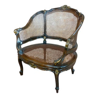 French Louis XVI Carved Walnut Cane Corbeille Chair