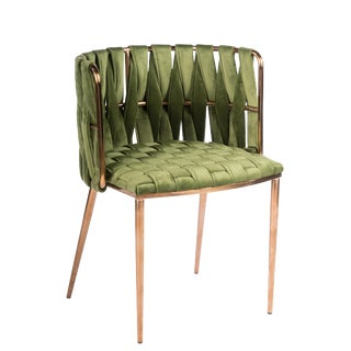 Modern Milano Green and Gold Dining Chair For Sale