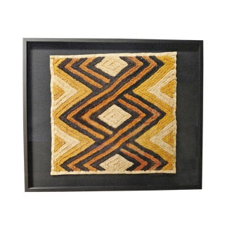 Kuba Shoowa Grass Textile Framed For Sale