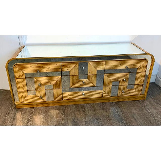 Silver Fabulous Midcentury Mirror Inlaid Segmented Bamboo Dresser or Credenza For Sale - Image 8 of 12