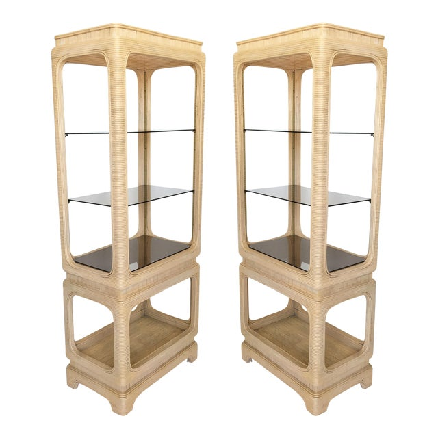 Pair of Vintage Mid-Century Modern Pencil Reed Bamboo Rattan Etageres For Sale