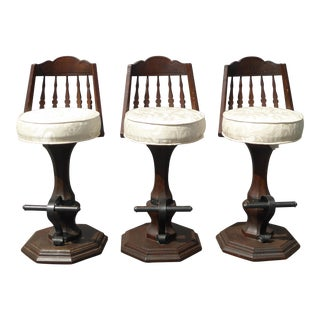 Vintage Spanish Style White Swivel Barstools - Set of 3 For Sale