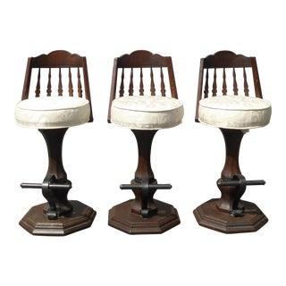 Vintage Spanish Style White Swivel Barstools - Set of 3