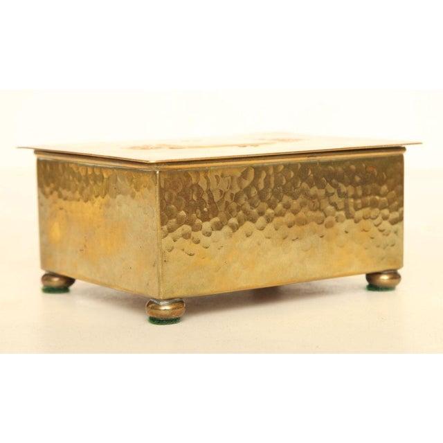 WMF Württembergische Metallwarenfabrik Wmf Art Deco German Hand Hammered Brass/ Wood Box For Sale - Image 4 of 6
