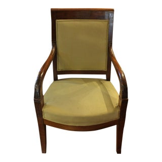 Early 19th Century Vintage Mahogany French Fauteuil For Sale
