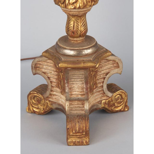 Late 19th Century Italian Painted Gilt Wooden Lamps - a Pair For Sale - Image 12 of 13