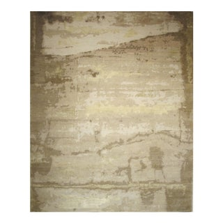 Modern Handmade Rug- Abstract Organic Design Wool & Silk Sand, Taupe, Tan 8' X 10' For Sale