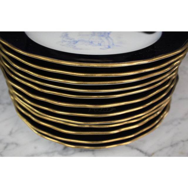 Meissen Porcelain Meissen Cobalt Plates For Sale - Image 4 of 9