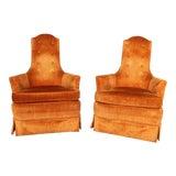 Image of Hollywood Regency Orange Velvet High Back Chair - A Pair For Sale