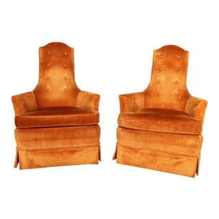 Hollywood Regency Orange Velvet High Back Chair - A Pair