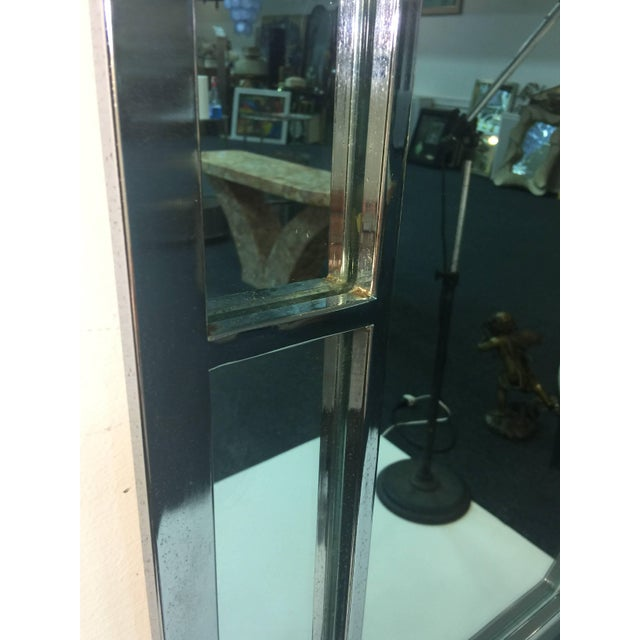 Modern Chrome Rectangular Mirror With Octagonal Center For Sale - Image 4 of 9