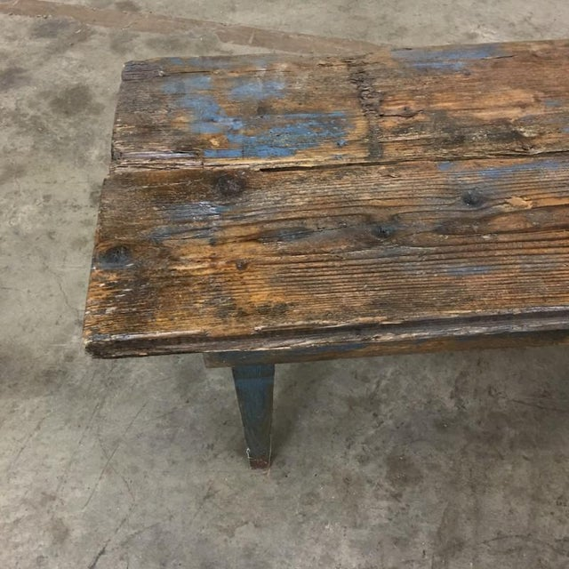 Wood French Antique Painted Rustic Long Bench Hall Bench For Sale - Image 7 of 8