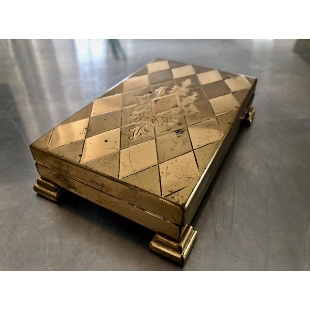 1960s Mid-Century Modern Glam Diamond Design Gold Metal Footed Cigarette Case For Sale - Image 9 of 9