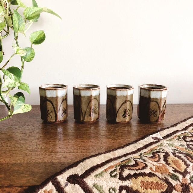 Ceramic Vintage Asian Ceramic Sake Cups - Set of 4 For Sale - Image 7 of 7