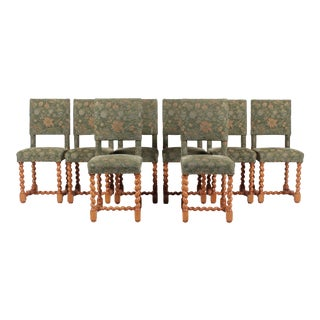 Vintage English Barley Twist Oak Green Dining Chairs, S/8