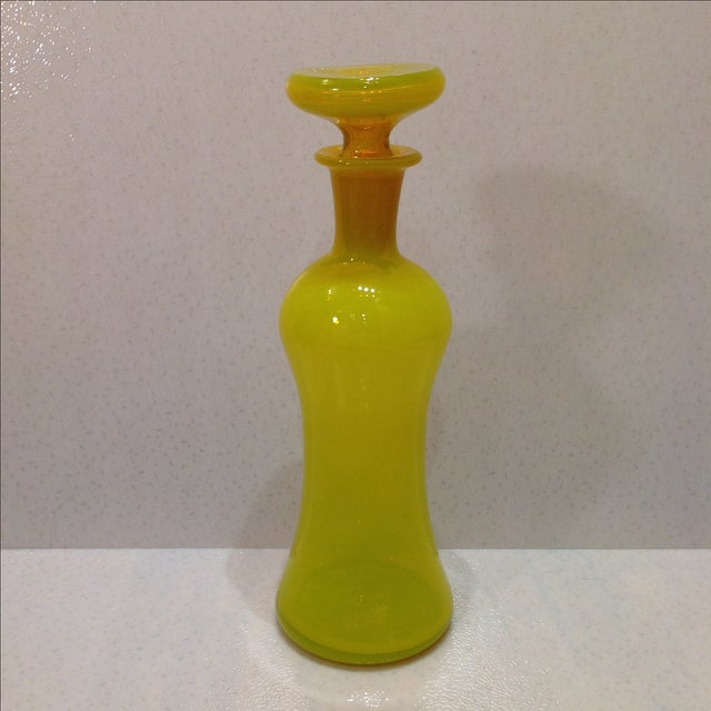 Italian Opaline Yellow Empoli Glass Decanter For Sale - Image 3 of 11