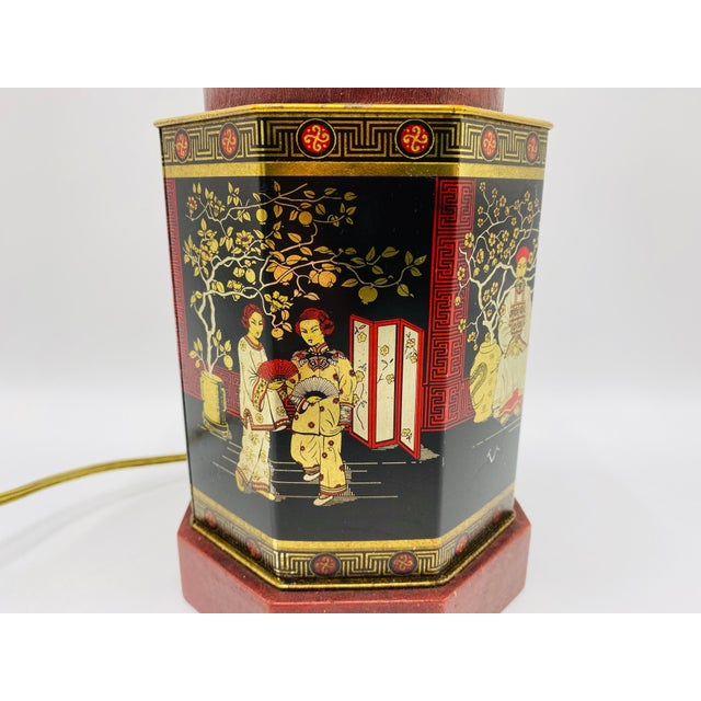 Mid 20th Century 1950s Chinoiserie Red and Black Tole Tea Canister Lamp With Leather Details For Sale - Image 5 of 13