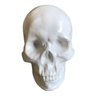 Ceramic Skull Head in White For Sale