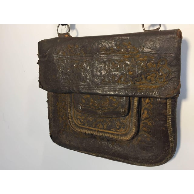 African African Hand Tooled Leather Tribal Shoulder Bag For Sale - Image 3 of 8