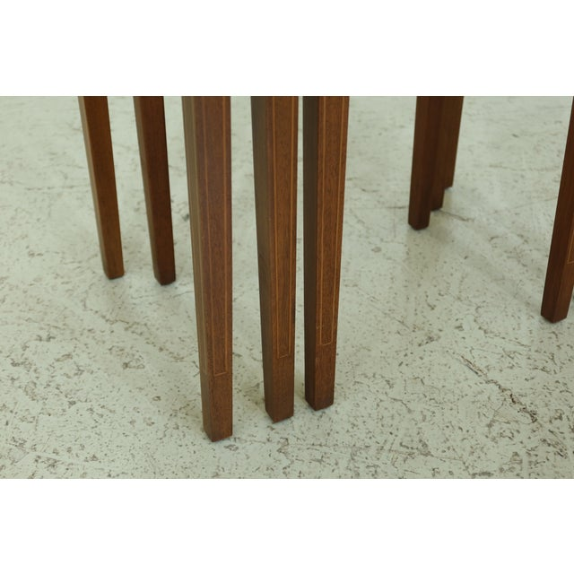 Biggs 3 Piece Inlaid Mahogany Nesting Stack Tables For Sale - Image 4 of 10