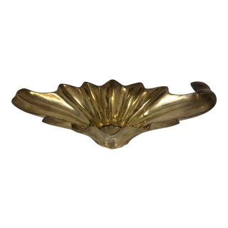 Vintage Brass Brutalist Art Deco Sunburst Decorative Bowl For Sale