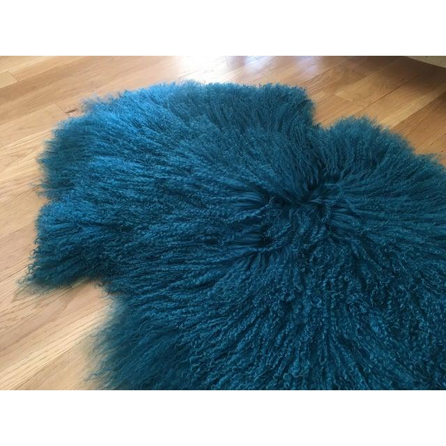 Turquoise Tibetan Lamb Fur Rug - 2′9″ × 4′1″ For Sale - Image 4 of 6