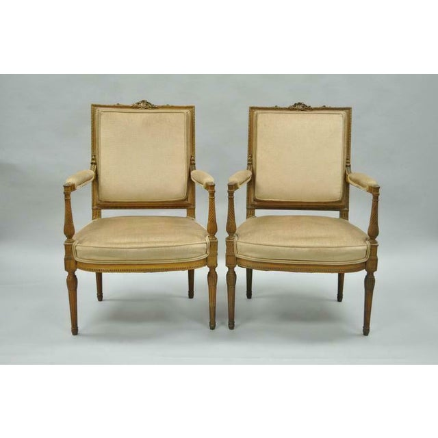 Vintage Carved Walnut French Louis XVI Directoire Square Back Fireside Arm Chairs- a Pair For Sale - Image 10 of 10