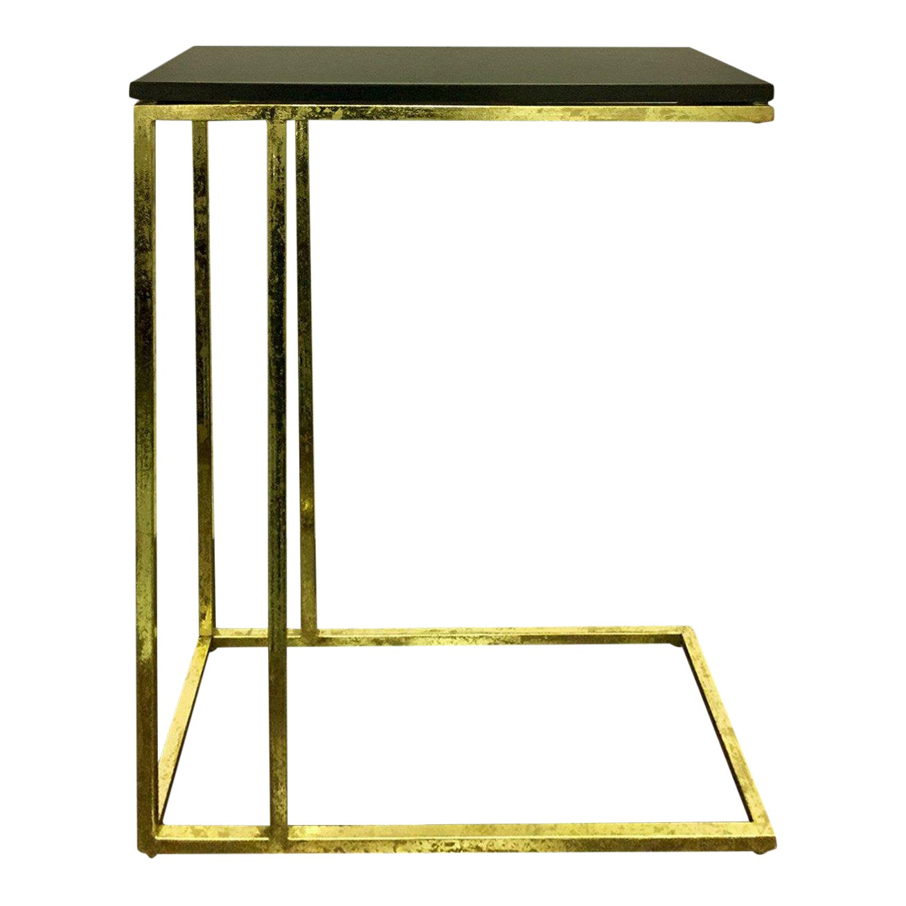 Contemporary Marko Marble Top Accent Table, Living Room, Side Table, Tray  Table, C Table- Gold Leafing