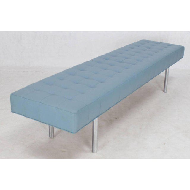 2010s Tufted Light Blue Upholstery Chrome Cylinder Legs Long Bench Almost Daybed For Sale - Image 5 of 9