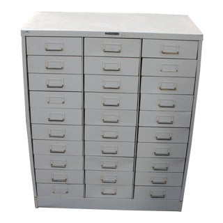 Vintage 30 Drawer Steel Storage Cabinet Organizer For Sale