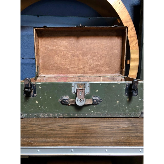 Vintage P & S Co. Military Footlocker With Contrasting Metal Hardware and Leather Handle For Sale - Image 11 of 12