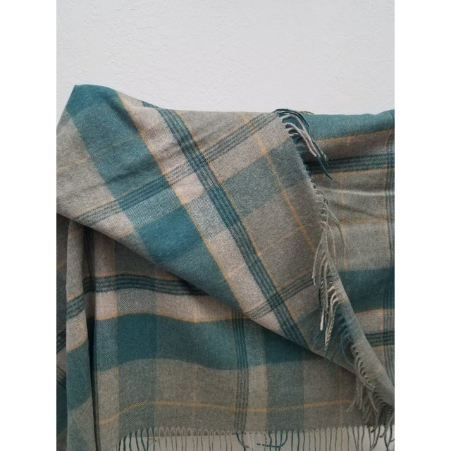 2020s Merino Wool Throw Light Aqua Blues Grey Plaid - Made in England For Sale - Image 5 of 9