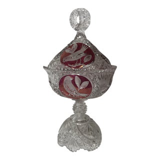 Etched Ruby Cut Glass Lidded Compote For Sale