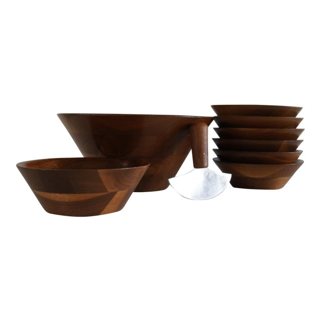 Mid-Century Walnut Salad Set - Image 1 of 8