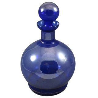 Decanter Cobalt Blue With Gold Antique Glass