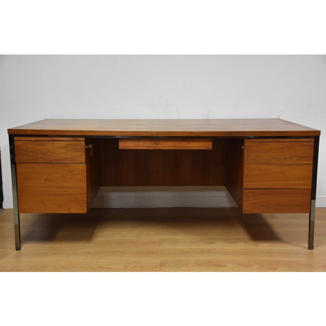 Mid-Century Modern Lehigh Leopold Walnut Executive Desk For Sale - Image 3 of 11