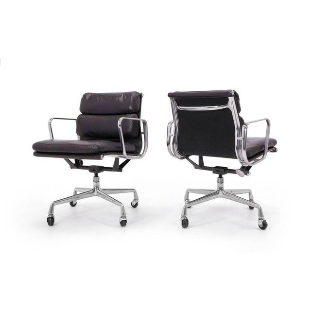 Eames for Herman Miller Leather Soft Pad Aluminum Group Armchairs buy any number - Image 4 of 10