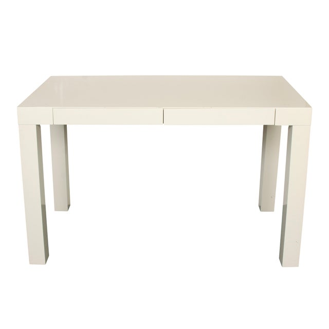 Modern Lacquered Parsons Style Writing Desk For Sale - Image 4 of 5