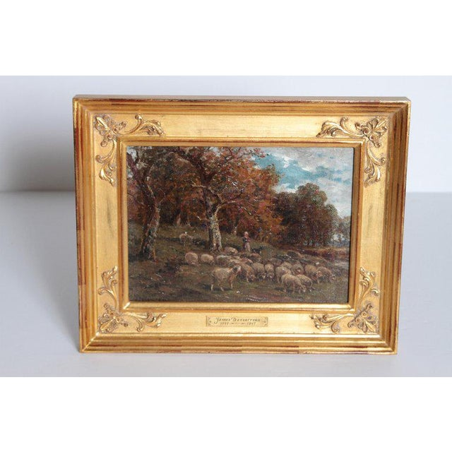 19th Century Oil Painting of Sheep Signed James Desvarreux For Sale - Image 4 of 13