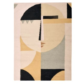 Custom Flat Weave Abstract Female Figure Rug - 3′ × 3′10″ For Sale