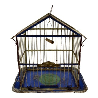 American Hendryx Jappaned Metal Bird Cage, Late 19th Century For Sale