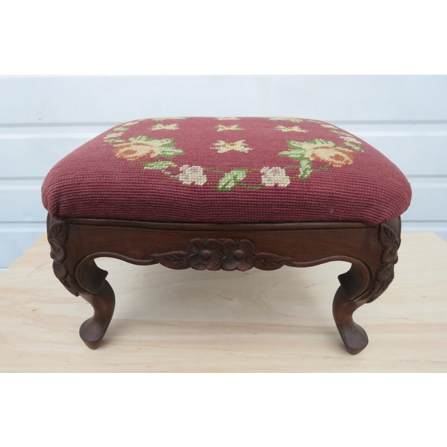 French Carved Needlepoint Tapestry Small Ottoman Footstool Bench For Sale - Image 13 of 13