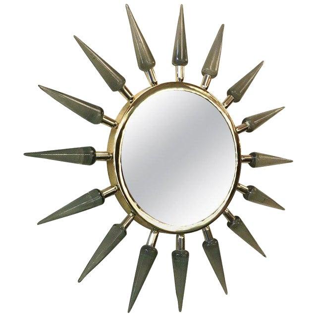 Italian Sunburst Murano Glass Mirror For Sale