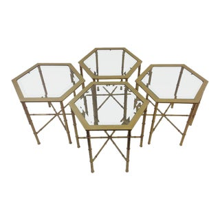 Set of Four Aged Brass and Glass Hexagonal Side Tables by Mastercraft