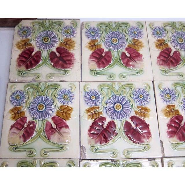 Green Floral Decorative Colorful Art Nouveau Tiles - Set of 15 For Sale - Image 8 of 10