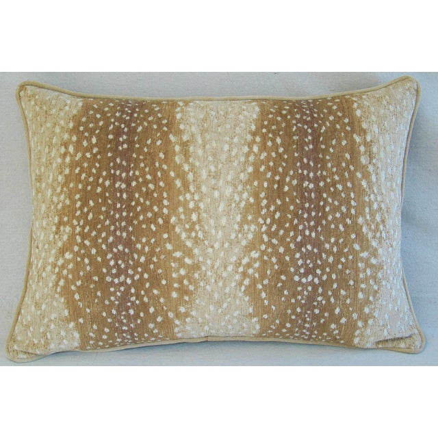 """Abstract Large Speckled Fawn Spot Velvet Feather/Down Pillow 26"""" X 18"""" For Sale - Image 3 of 9"""